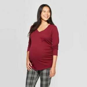 Isabel Maternity Red Side Scrunch Tunic Size 'Smal